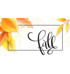 banner with hand lettering label - fall vector image