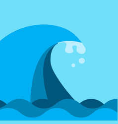 bid ocean and sea wave in blue color vector image