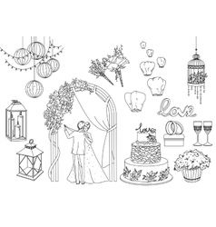 Big set of wedding decorative elements and vector