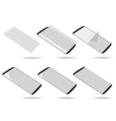 Black smartphones screen protector set different vector