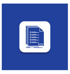 Blue round button for check filing list listing vector