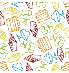Cakes and ice cream seamless pattern vector image