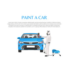 Car paint promo with man in protective clothing vector