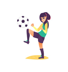 cartoon girl character playing football vector image