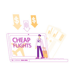 Cheap flight low cost airline offer profitable vector