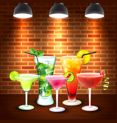 Cocktails realistic colored composition vector