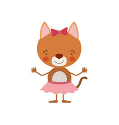colorful caricature of cute expression female cat vector image