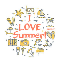 colorful icons in love to summer theme vector image