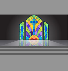 Colorful windows in temple vector