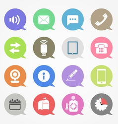 Communication web icons set in color speech clouds vector image