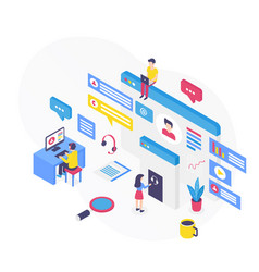 Customer support isometric vector
