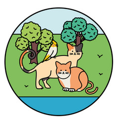Cute cats and bird mascots in park vector