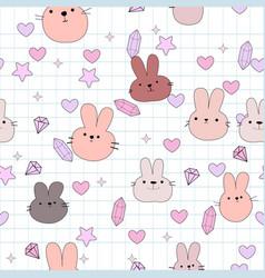 cute rabbit bunny face cartoon pattern vector image