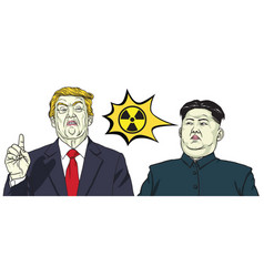 Donald trump vs kim jong un nuclear sign vector