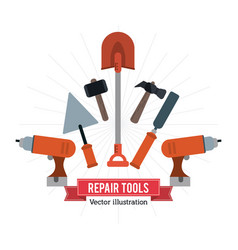 drill spatula hammer shovel tool icon repair vector image