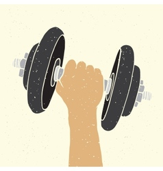 Dumbbell and hand vector image vector image