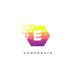 e colorful hexagonal letter logo design with vector image