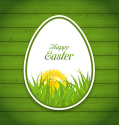 Easter paper sticker egg on green wooden vector
