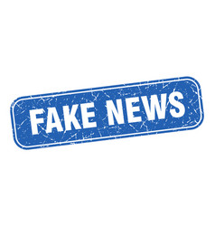 Fake news stamp fake news square grungy blue sign vector