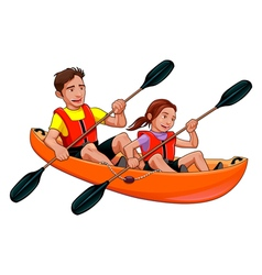 Father and daughter on the kayak vector
