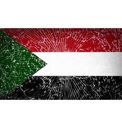 Flags Sudan with broken glass texture vector
