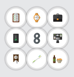 Flat icon lifestyle set of bureau questionnaire vector