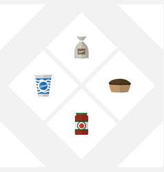 flat icon meal set of ketchup yogurt sack and vector image