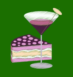 Flat shading style icon cocktail and cake vector