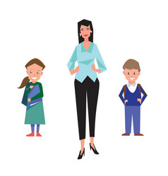 flat style education with teacher and students vector image