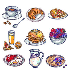 food breakfast icon set vector image