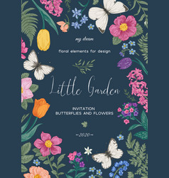 frame with flowers and white butterflies vector image
