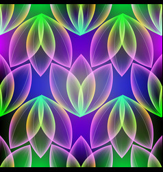 glowing colorful floral 3d seamless pattern vector image