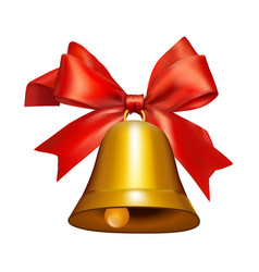 golden bell with red ribbon symbol accessory vector image