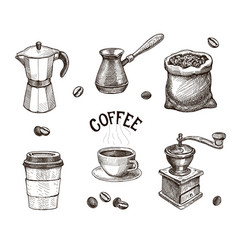 hand drawn coffee set coffee mill beans sketch vector image