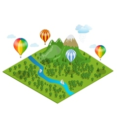 hot air balloon over forest over the vector image