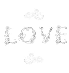 inscription love with decorative floral element vector image