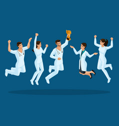 Isometrics doctors jump happiness surgeons vector