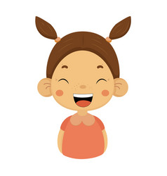 laughing little girl flat cartoon portrait emoji vector image