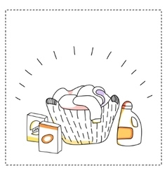 Laundry basket detergents vector