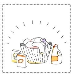 Laundry basket detergents vector image