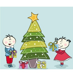little girl little boy and christmas tree vector image