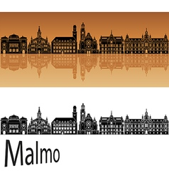 Malmo skyline in orange vector image
