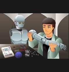 man making a robot vector image