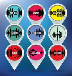 Map pins with Abu Dhabi Sydney Singapore Bangkok vector