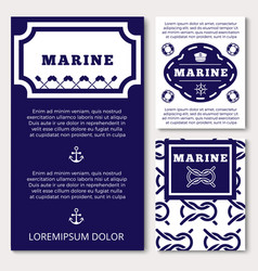 marine banners or flyers design with sea elements vector image