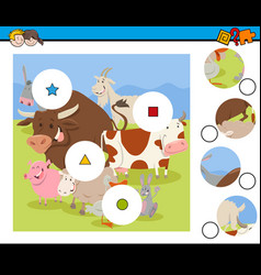 match pieces activity with farm animals vector image