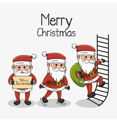 Meryy christmas card three santa character vector