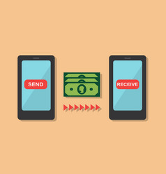 money transfer from phone to phone vector image