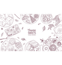 Monochrome banner template with oriental sweets vector