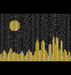 mosaic skyline at night vector image
